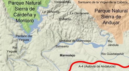 Mapa de los Espacios Naturales de Marmolejo